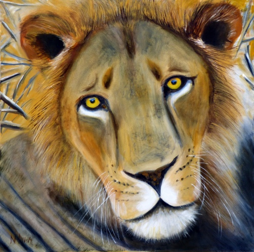 "Lion, Nov 2014, Oil on Canvas, 24"" x 24"""